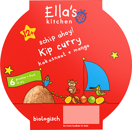 Curry met kip, kokosnoot + mango